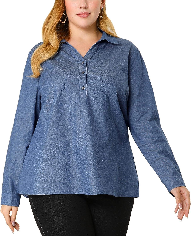 Agnes Orinda Women's Plus Size Denim Tops Chest Pocket Button Down Chambray Shirts