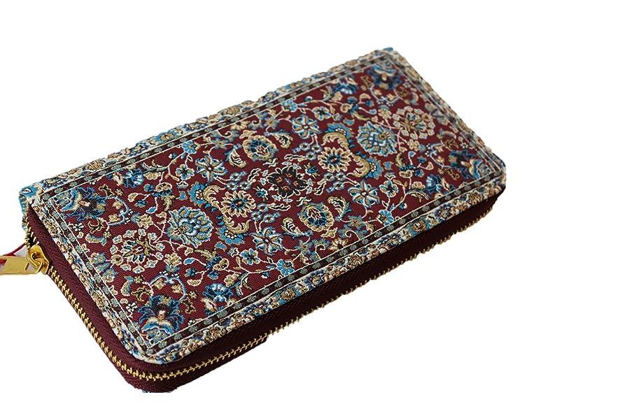 不注意自動説得絨毯をモチーフにした刺繍の美しいファスナー付き長財布