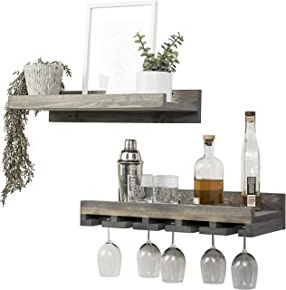 Del Hutson Designs Rustic Real Wood Wall Mounted Wine Bottle Rack Stemware Hanger Set Farmhouse Kitchen Dining (Grey, 24 Inch / 2 FT)