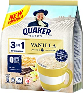 Quaker Oat Cereal Drink 3-in-1, Vanilla, 28g (Pack of 15)