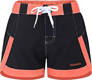 Yaluntalun Women's Swim Board Shorts Quick Dry Swimwear Bottom Solid Color Beach Shorts