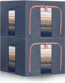 Mijiao 収納ボックス 50x40x33cm 収納ケース 衣類収納 ダブルドア 600Dオックス 洋服収納 麻生地 ワイヤー入りで積み重ねにも便利 透明窓付き 大容量 衣装ケース (ダークブルー)