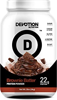 Devotion Nutrition Protein Powder, Brownie Batter, 20 Grams Protein, 1 Gram Mct, Protein Baking Powder, Whey Protein Powder, Low Carb Protein, 2 Pound Tub, 1 Count