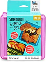 Fit & Fresh Divided Lunch Pack Carrier, Reusable Food Container for Sandwich and Snack with Removable Ice Pack, BPA-Free L...