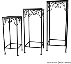 Milltown Merchants™ Plant Stands - Set of 3 Metal Plant Stands - Indoor/Outdoor Nesting Wrought Iron End Tables - Square Black Flower Stands