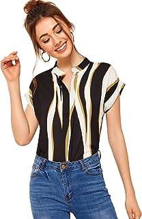 SheIn Women's Casual Short Sleeve Geo Print Colorblock Notch Neck Blouse Shirt Top