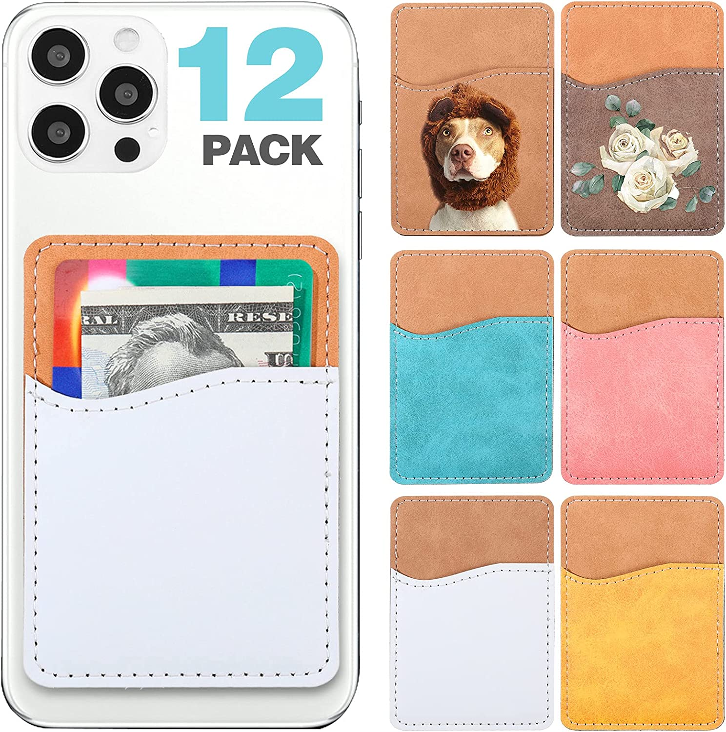 12 Pieces Sublimation Blanks Phone Wallet PU Leather Card Holder Phone Back Pocket ID Card Cell Phone Bag Wallet Slim Case Pouch Sleeve, 6 Colors
