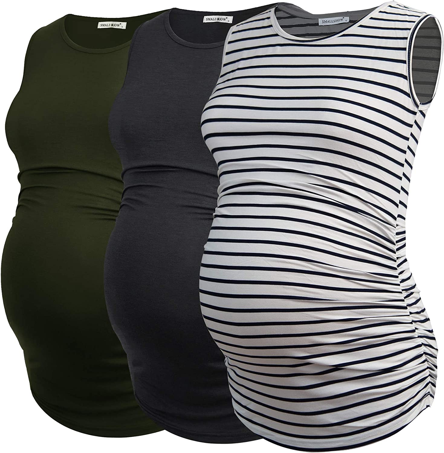 Smallshow Womens Sleeveless Maternity Tank Tops Ruched Pregnancy Clothes 3-Pack