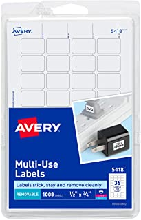 Avery Removable Print or Write Labels, White, 0.5 x 0.75 Inches, Pack of 1008 (5418)