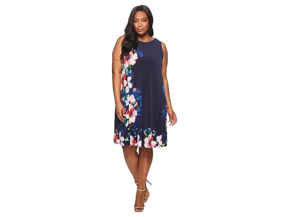 LAUREN Ralph Lauren Plus Size Suzan Windell Floral Matte Jersey Dress (Lighthouse Navy/Pink/Multi) Women