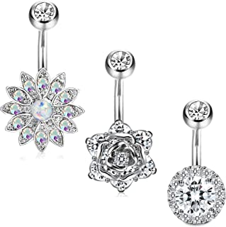 Jstyle 3-6 Pcs 14G Stainless Steel Belly Button Rings Barbell Navel Rings Bar for Women CZ Flower Body Piercing