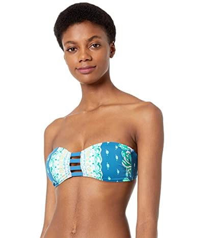 Lilly Pulitzer Bari Bandeau (Macaw Blue Coconut Row Engineered Bikini Top) Women