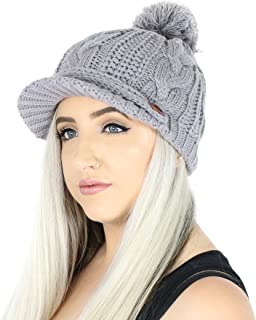 Folie Co. Pompom Cable Ribbed Knit Beanie Hat w/Visor Brim – Chunky Winter Skully Cap
