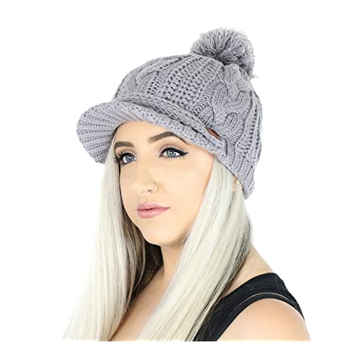 6f5d8d65b4a PomPom Cable Ribbed Knit Beanie Hat w  Visor Brim – Chunky Winter Skully Cap