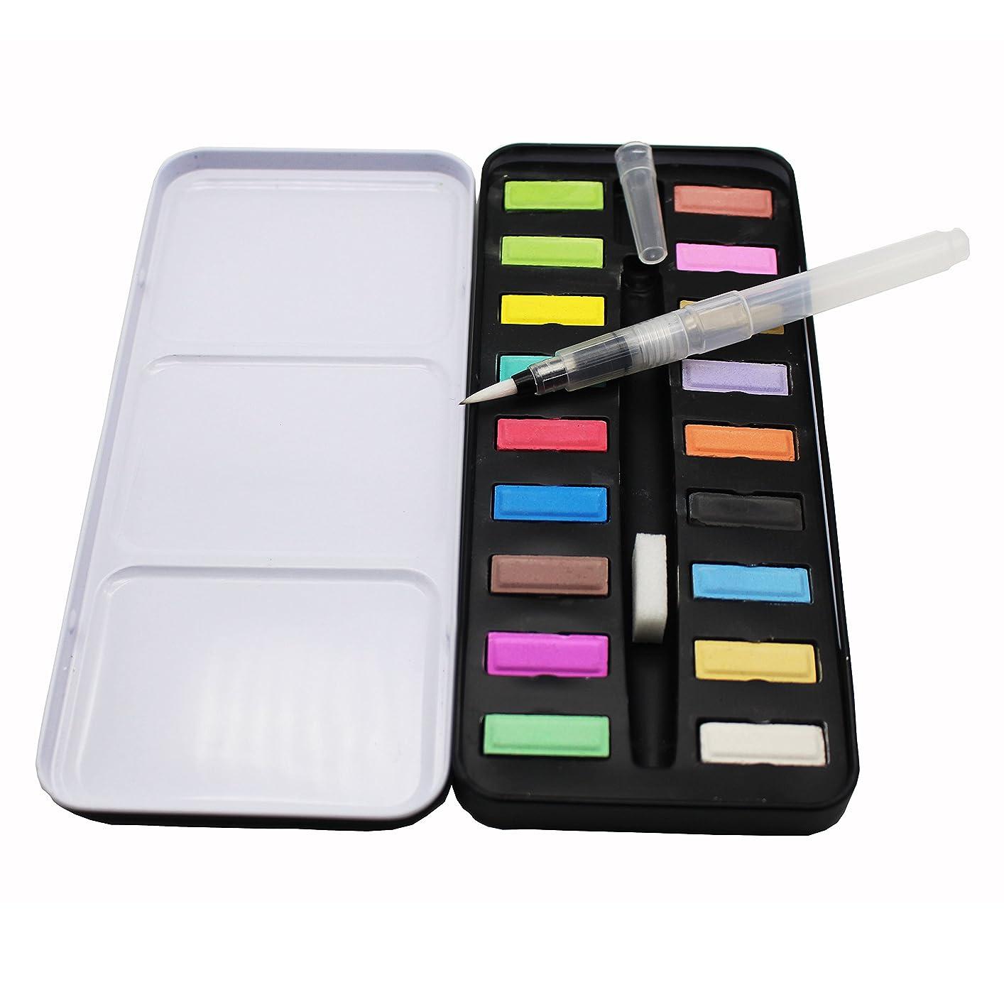 その後歴史タフ水彩絵の具 18色セット ソリッドケーキカラー 水筆ペンとスポンジ付き