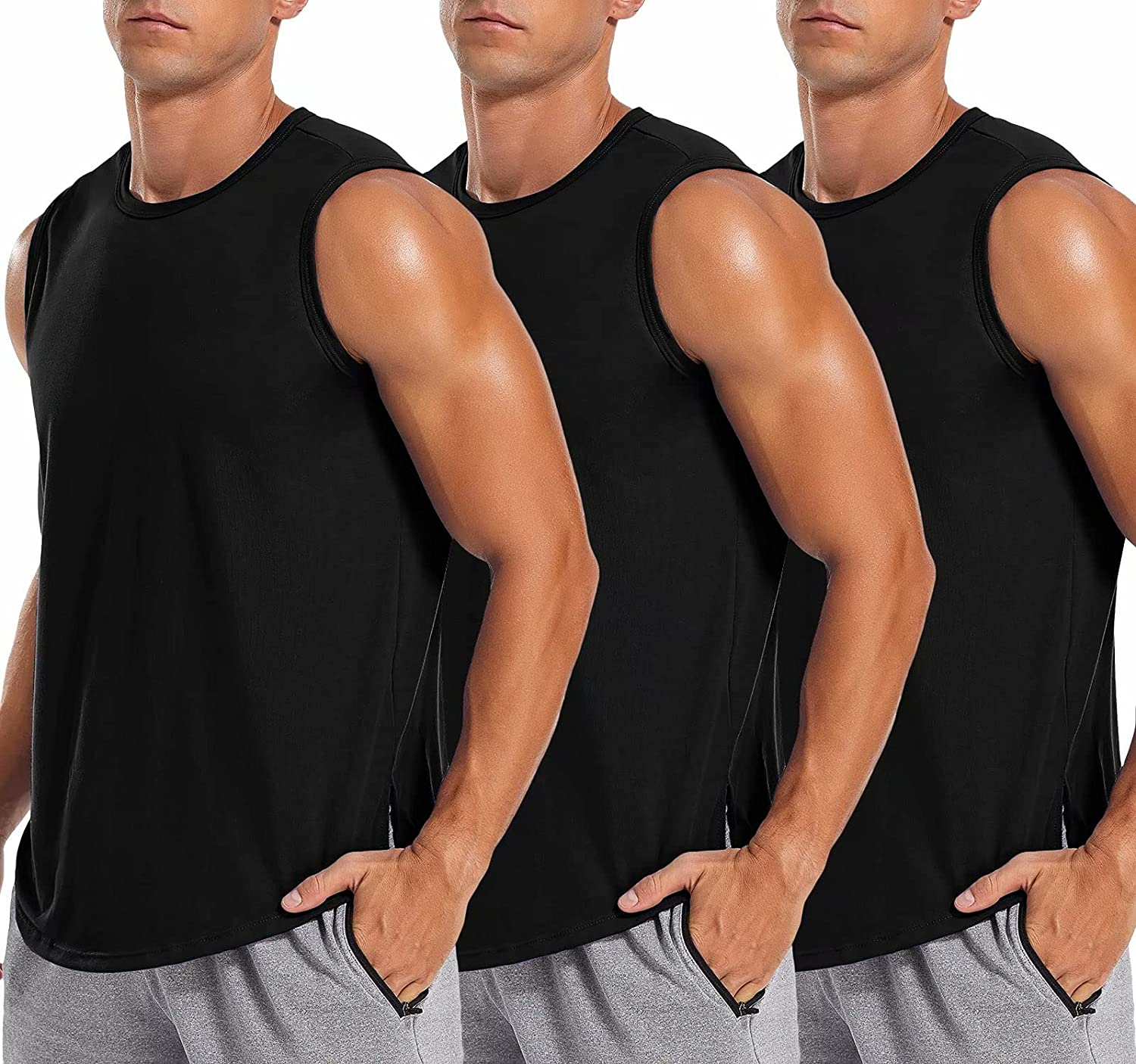 LecGee Men's 3 Pack Gym Tank Tops Sleeveless Workout Muscle Tee Fitness Bodybuilding T Shirts