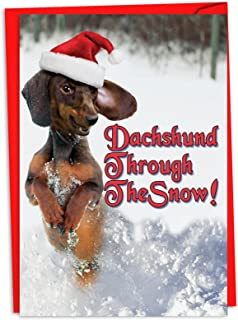 12 Boxed 'Dachshund Through the Snow' Christmas Cards with Envelopes 4.63 x 6.75 inch, Cute Weiner Dog Puppy with Santa Hat Merry Christmas Card, Happy Holidays with Funny Dog C4287XSG-B12