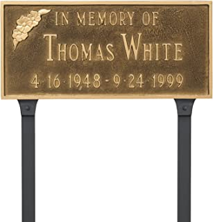 Montague Metal PCS-0095S2-L-ABG Memorial Plaque with Flower & Lawn Stake, 7.25