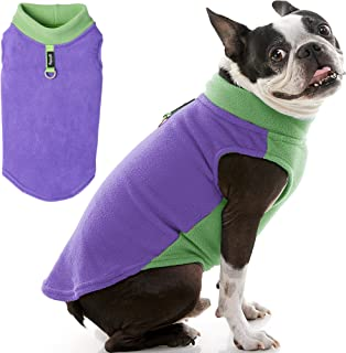 Gooby - Fleece Vest Half Stretch, Small Dog Pullover Fleece Jacket with Stretchable Bottom and Leash Ring, Purple, X-Small