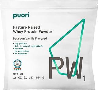 Puori - PW1 Pastured Raised Whey Protein Powder, Non-GMO, 21g Protein, Vanilla, 1.lbs
