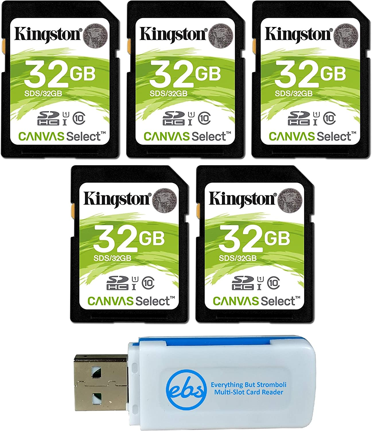 Kingston 32GB SD Memory Card (5 Pack) Canvas Select SDHC Card Class 10 UHS-1 (SDS/32GB) Bundle with (1) Everything But Stromboli SD & Micro Card Reader