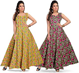 Trendy Fab Women's Cotton Printed Maxi Long Dress, Gown (Multi Color) Pack of 2 Pcs