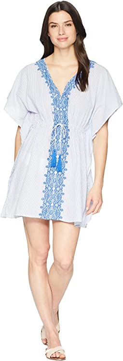 Emroidered Yarn-Dye Stripes Tunic Cover-Up