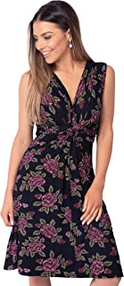 Women's Casual Rose Knot Front V Neck Summer Dress Plus Size