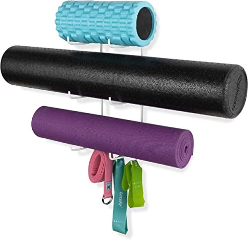 Wallniture Guru Wall Mount Yoga Mat Foam Roller and Towel Rack with 3 Hooks for Hanging Yoga Strap and Resistance Ban...