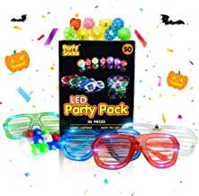 PartySticks Glow Party Favors for Kids and Adults – 50pk of Party Supplies w/ 32 Light Up Finger Lights, 13 Glow Jelly Rings, 5 LED Light Up Glasses