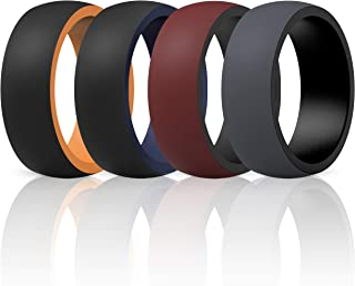 ThunderFit Silicone Wedding Rings for Men - 7 Rings / 4 Rings / 1 Ring - 2 Layer Round Rubber Engagement Bands - 8.7mm Wide - 2mm Thick