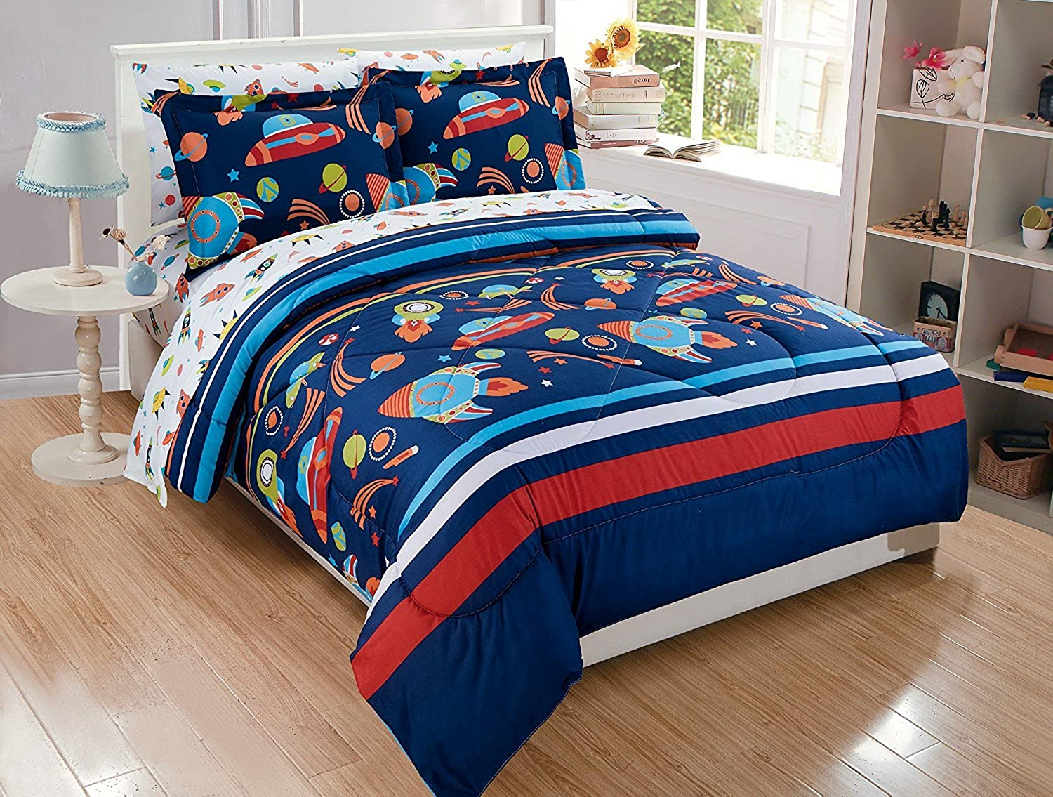 Elegant Home Multicolor Solar System With Space Ships & Rockets Universe Galaxy Stars Design 5 Piece Twin Size Comforter Bedding Set for Boys Kids Bed In a Bag With Sheet Set   Solar (Twin Size)
