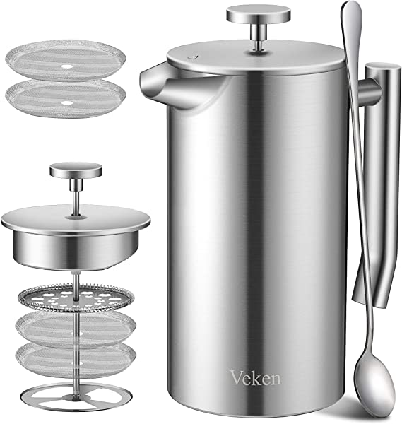 Veken French Press Double Wall 18 10 Stainless Steel Coffee Tea Maker Multi Screen System 2 Extra Filters Included Rust Free Dishwasher Safe 1L