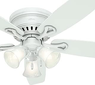 Hunter Fan 52in White Finish Low Profile Ceiling Fan with Swirled Marble Glass Light Kit (Renewed)