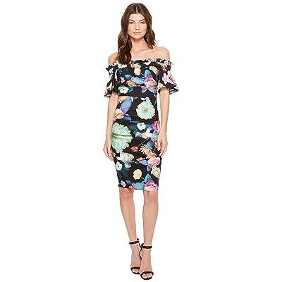 Nicole Miller Daydream Natalia Off the Shoulder Dress (Black Multi) Women