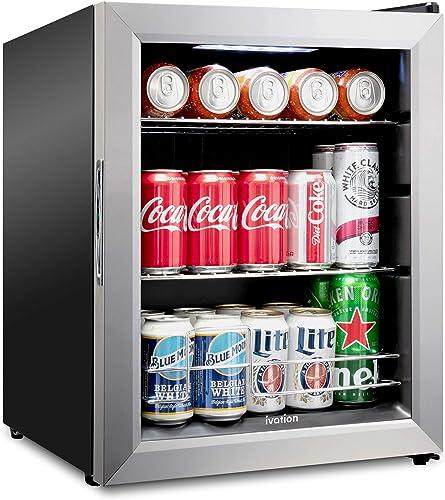 2021 Ivation discount 62 Can Beverage Refrigerator   Freestanding Ultra Cool Mini Drink Fridge   Beer, Cocktails, Soda, Juice sale Cooler for Home & Office   Reversible Glass Door & Adjustable Shelving - Stainless Steel outlet sale