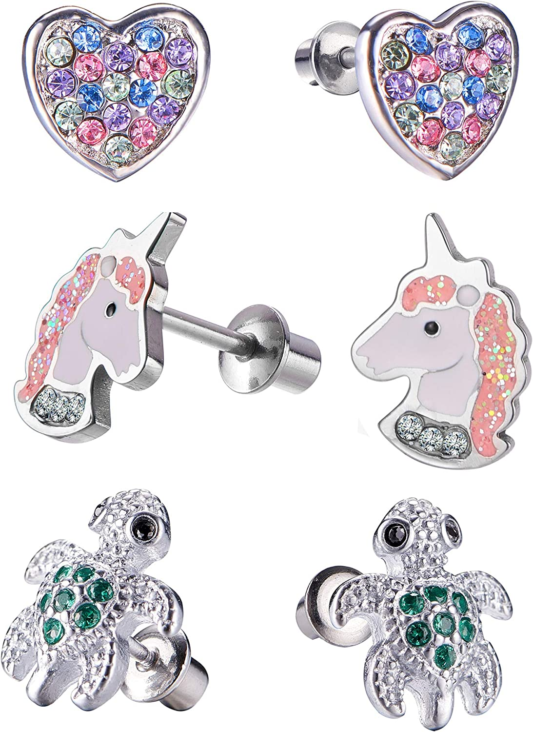 Omaha Mall Hypoallergenic Unicorn Butterfly Heart Stud Set Earring Sec with Translated