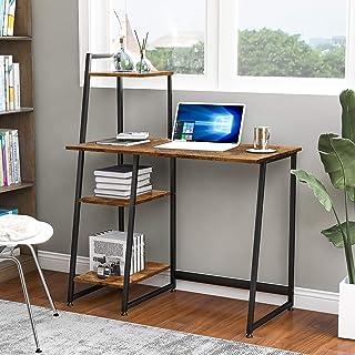 Bureau d'ordinateur avec 4 étagères de rangement – Table d'étude avec bibliothèque moderne en bois pour les petits espace...