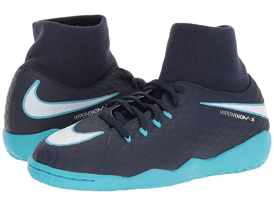 Nike Kids HypervenomX Phelon III Dynamic Fit IC Soccer Shoe (Little Kid/Big Kid) (Obsidian/White/Gamma Blue/Glacier Blue) Kids Shoes