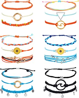 LOYALLOOK 18PCS Summer Beach Wrap Vsco Bracelets Ocean Wave Sunflower Strand Bracelets Geometric Braided Rope Handmade Fri...