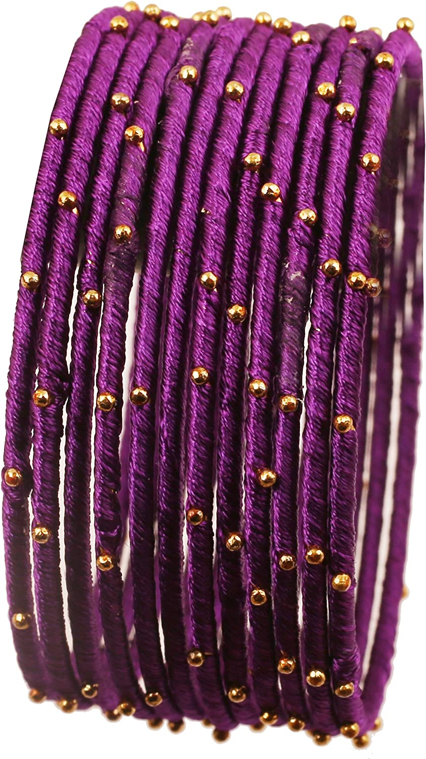 Touchstone Indian Bollywood Mystical Look Hand Woven Faux Silk Thread Golden Balls Gorgeous Color Exotic Designer Jewelry Bangle Bracelets for Women.
