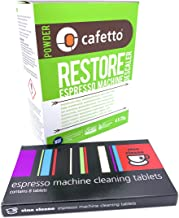 Espresso Machine Cleaning & Descaling Pack Cino Cleano 8 Tablets and Box of 4 Restore Sachets Perfect and Compatible with ...
