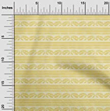oneOone Cotton Silk Fabric Stripe & Paisley Block Print Sewing Fabric by The Meter 42 Inch Wide