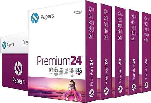 HP Printer Paper 8.5x11 Premium 24 lb 5 Ream Case 2500 Sheets 100 Bright Made in USA FSC Certified Copy Paper HP Comp...