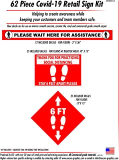 Social Distancing Sign Kit (62 Piece). Kit Includes 3 Different Floor Decals. Easy Install and Easy Removal, Little to NO ...