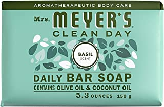 Mrs. Meyer's Clean Day Bar Soap, Use as Body Wash or Hand Soap, Cruelty Free Formula, Basil Scent, 5.3 oz- Pack of 12