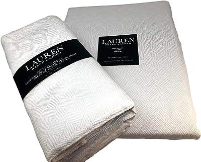 "Lauren Cream Basketweave Tablecloth 60"" x 104"" Oblong + Set 8 Napkins Bundle"
