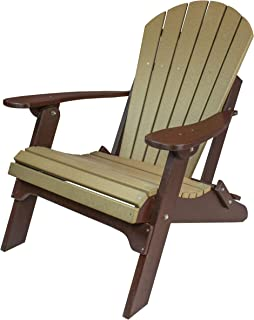 Amish Made Poly Folding Adirondack Chairs (Weatherwood on Brown)