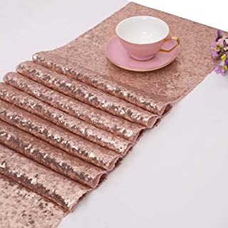 TOROTON Rose Gold Sequin Table Runners, 30 x 270 cm Glitter Sequin Tablecloth, for Wedding Party Decoration - Rose Gold