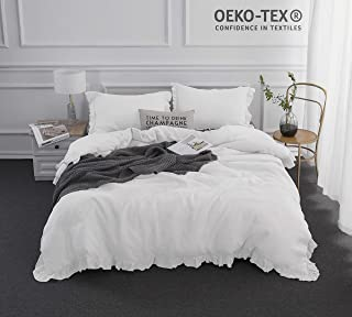 Simple&Opulence 100% Stone Washed Linen Frill Floral Ruffled Flax Duvet Cover Set (Queen, White)